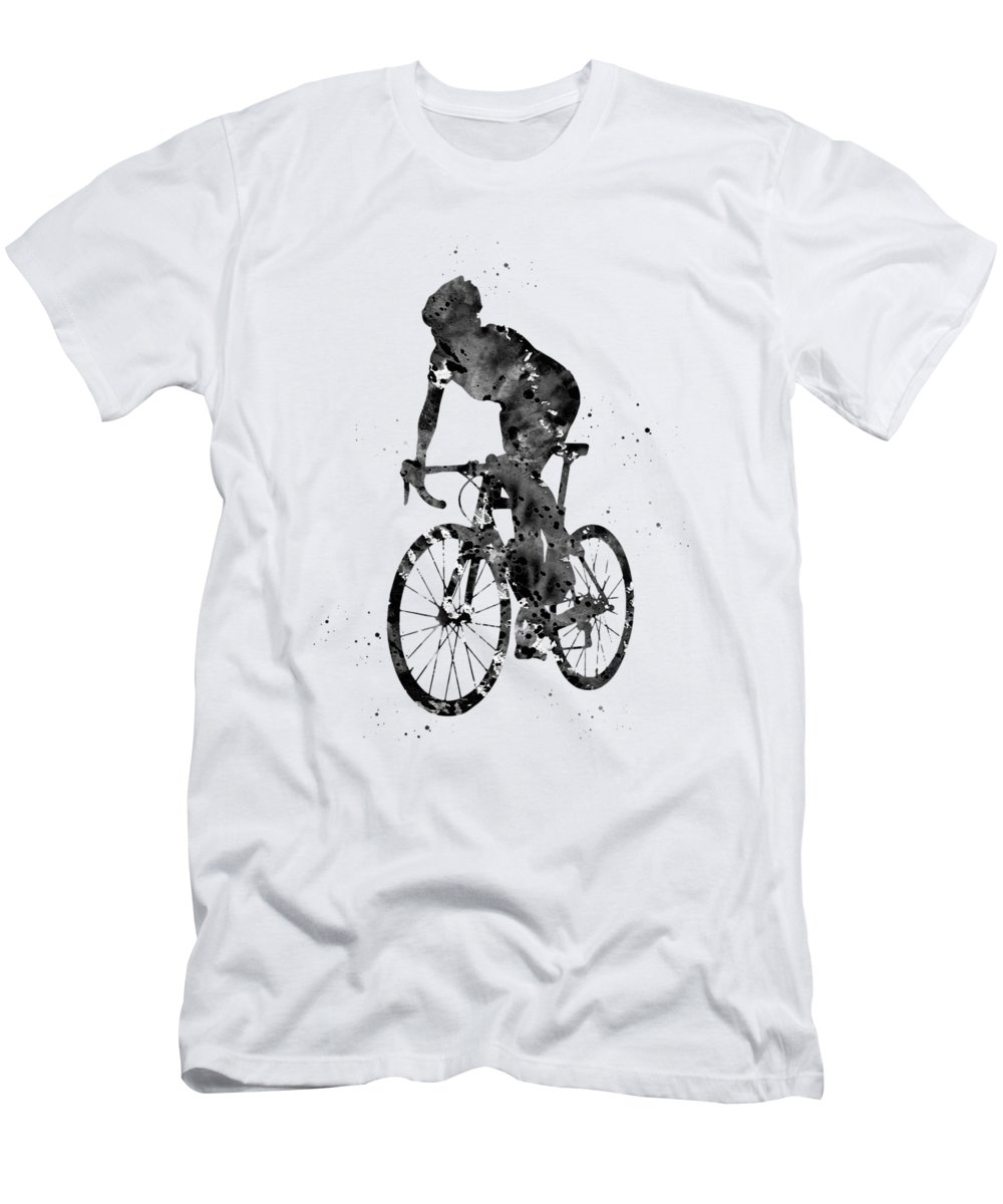 Cyclist Sprinting Men's T-Shirt (Athletic Fit) featuring the digital art Cyclist Sprinting by Erzebet S