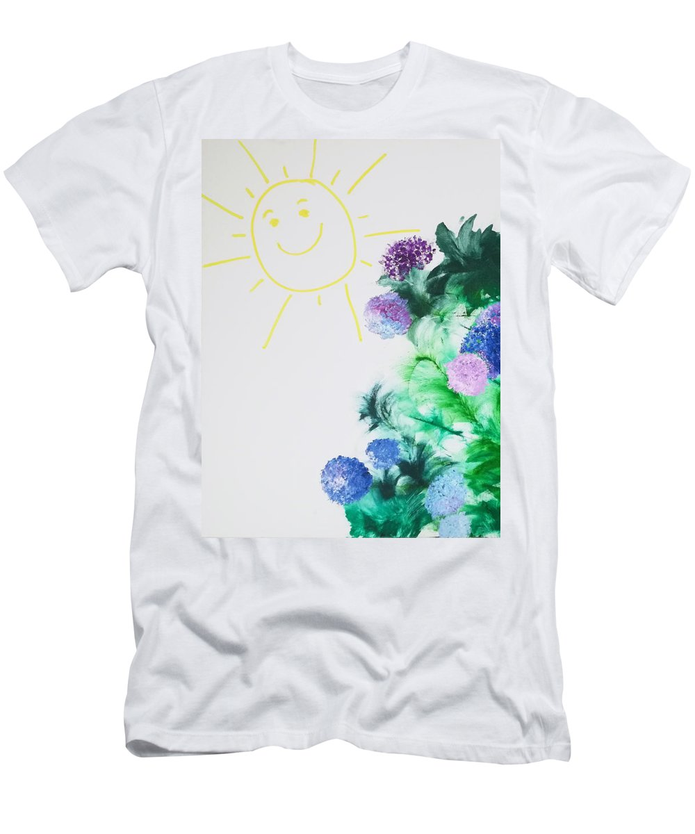 Floral Flowers Spring Green Blue Purple Happy Men's T-Shirt (Athletic Fit) featuring the painting Proof 1 by A Bacia