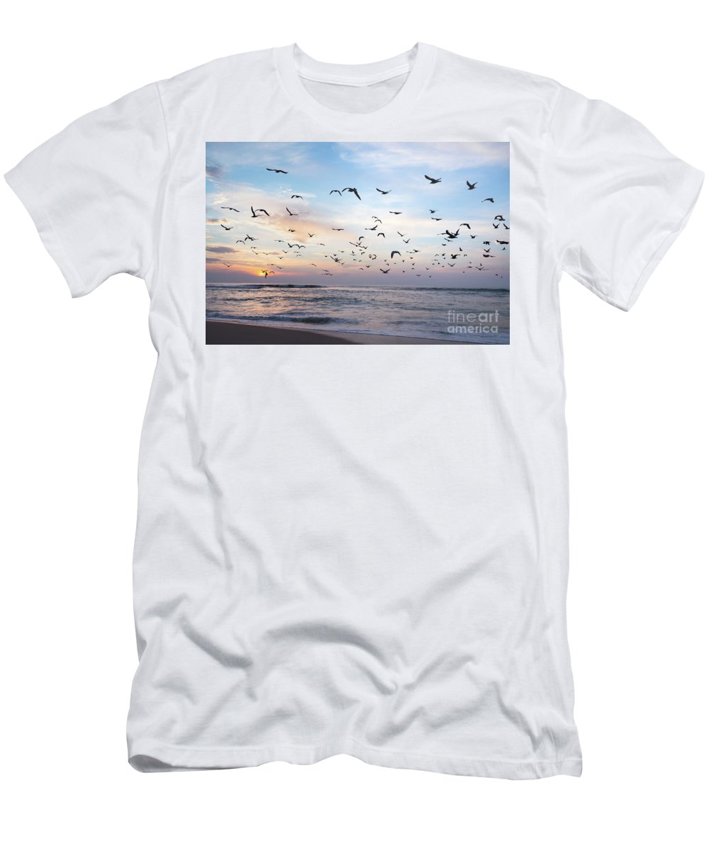 Sunset Men's T-Shirt (Athletic Fit) featuring the photograph Sunset On The Beach by Hanna Tor