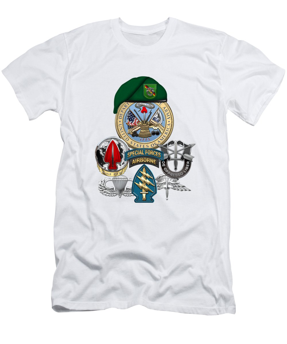 U.s. Army Special Forces Collection By Serge Averbukh Men's T-Shirt (Athletic Fit) featuring the digital art 10th Special Forces Group Europe - Green Berets Special Edition by Serge Averbukh