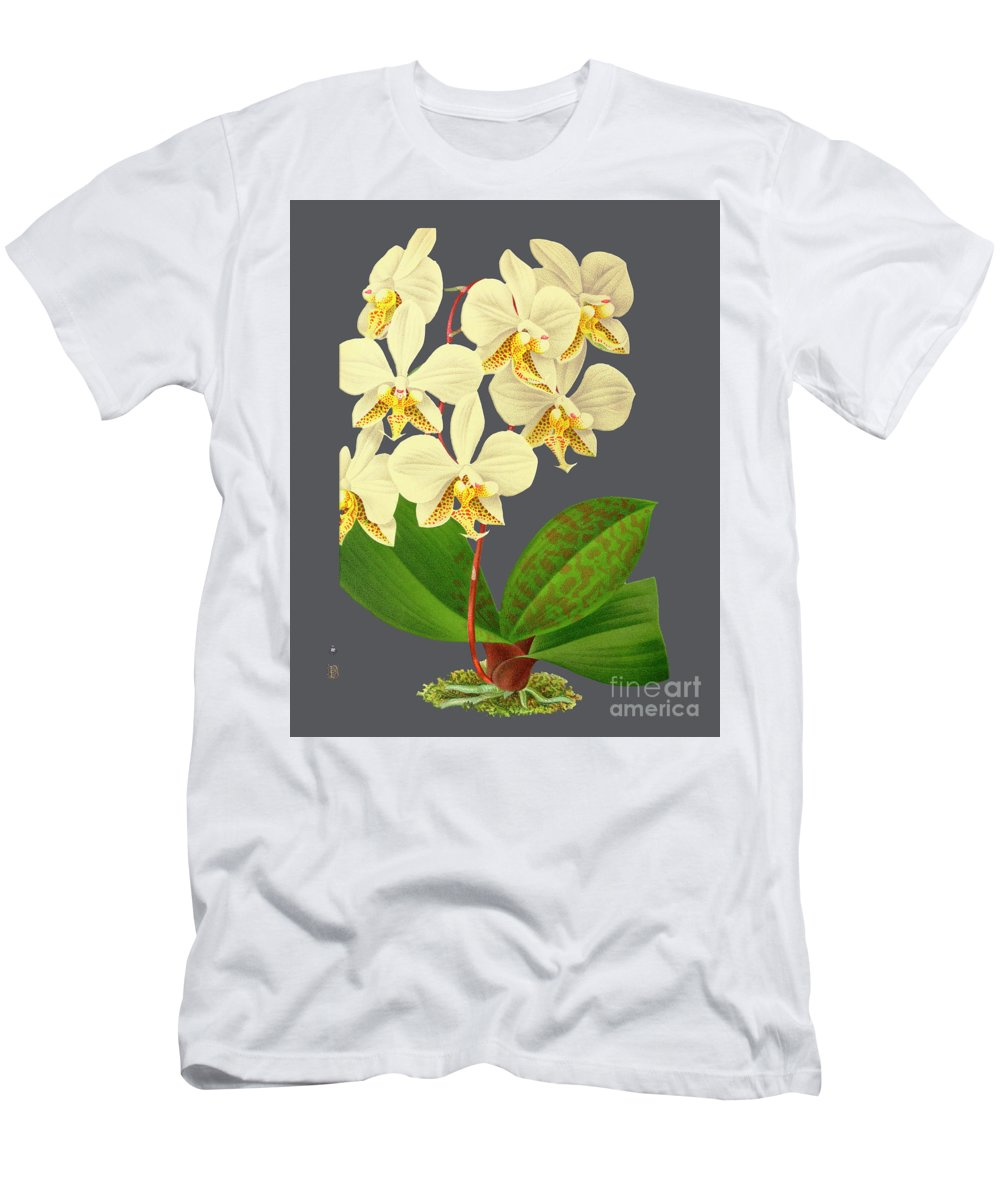 Vintage Men's T-Shirt (Athletic Fit) featuring the mixed media Orchid Old Print by Baptiste Posters