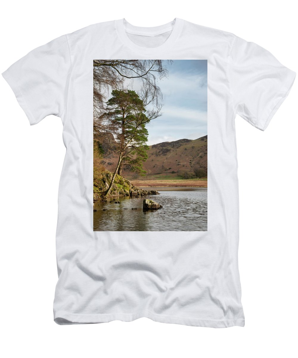 Landscape Men's T-Shirt (Athletic Fit) featuring the photograph Beautiful Vibrant Sunrise Landscape Image Of Blea Tarn In Uk Lak by Matthew Gibson