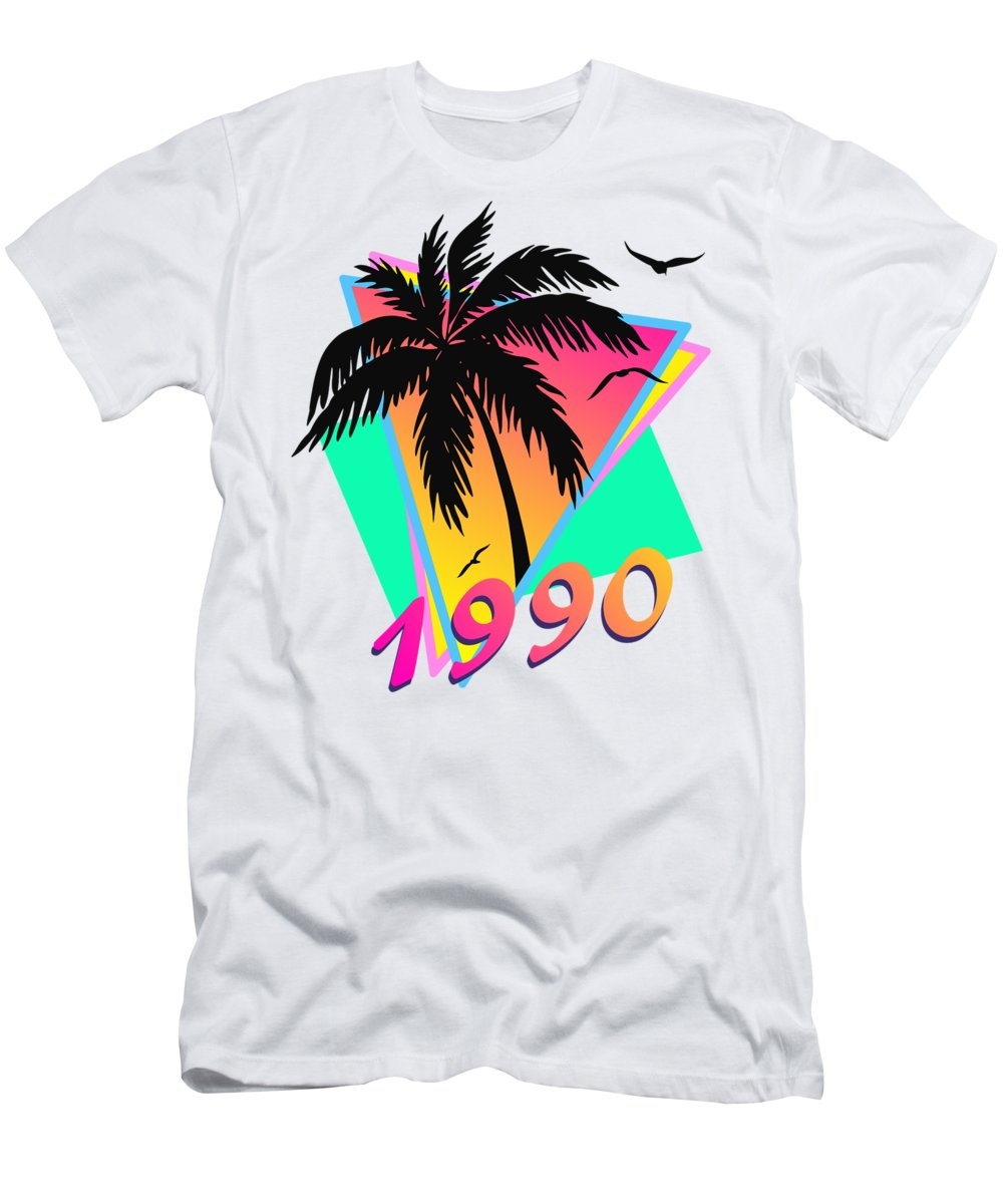 This Cool Design Features Classic Vintage 80s Style Summer Sunset Pop Art Inspired By Retro Vhs Tapes Of Famous Tv Shows And Movie Posters. A Palm Tree By The Ocean And Seagulls In Front Of The Glow Of The Sun. This Colorful Print In Yellow T-Shirt featuring the digital art 1990 Cool Tropical Sunset by Filip Hellman