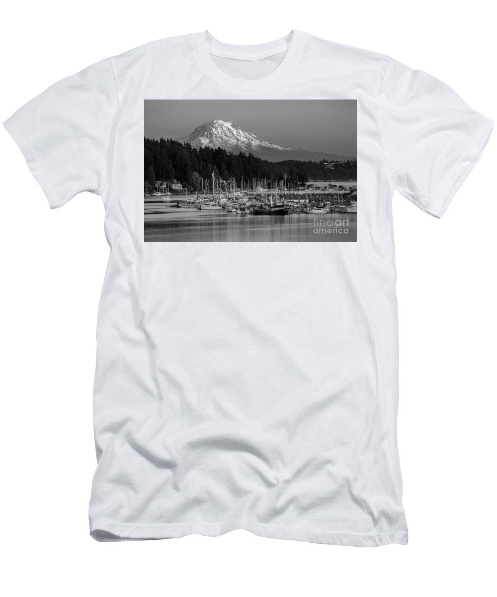 Gig Harbor Marina With Mount Rainier In The Background Men's T-Shirt (Athletic Fit) featuring the photograph Gig Harbor Marina With Mount Rainier In The Background by Yefim Bam