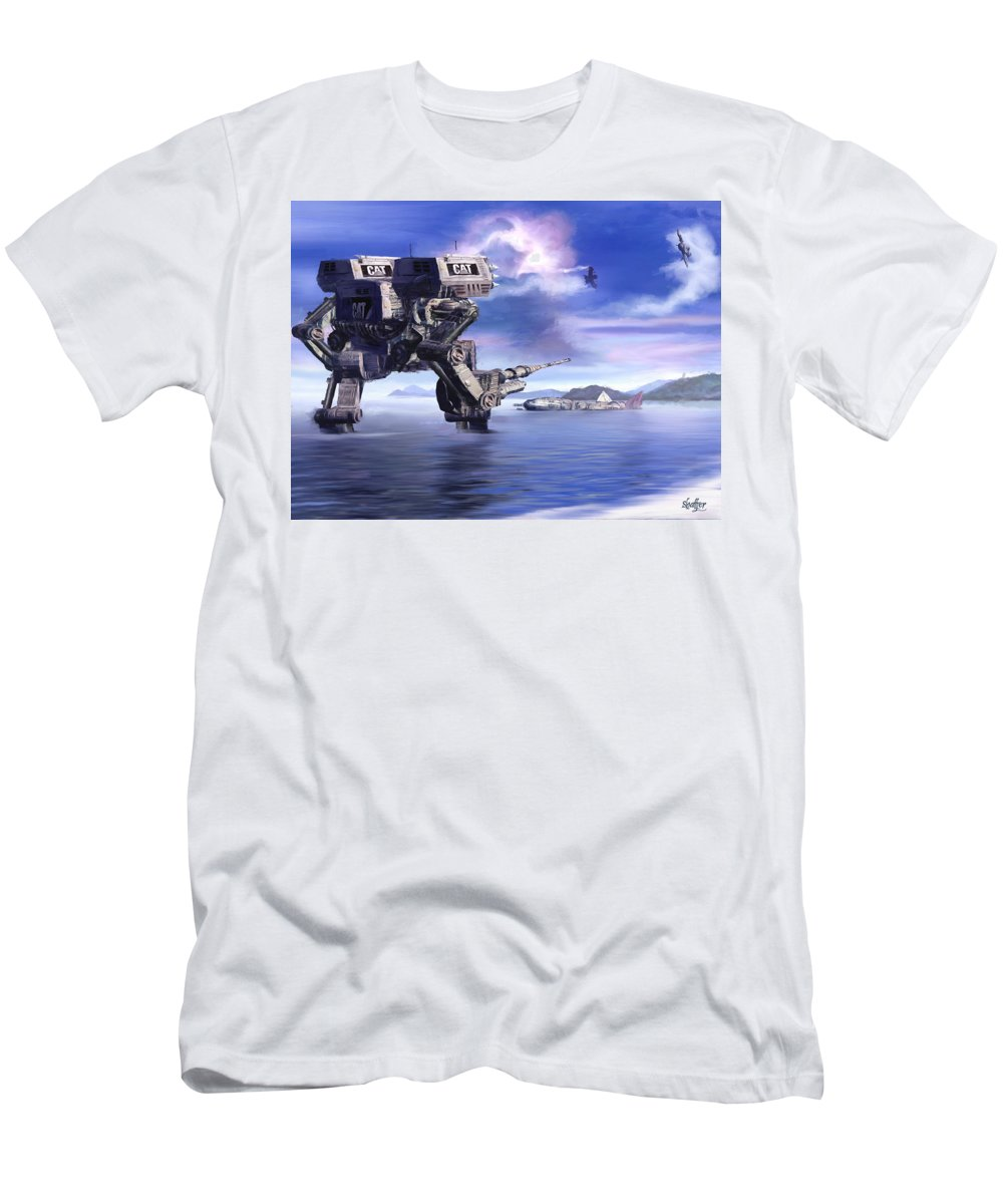 Science Fiction Men's T-Shirt (Athletic Fit) featuring the mixed media 501st Mech Defender by Curtiss Shaffer