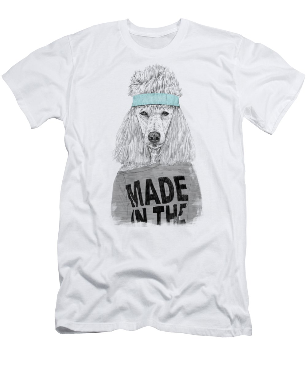 Dog T-Shirt featuring the drawing 80's Bitch by Balazs Solti