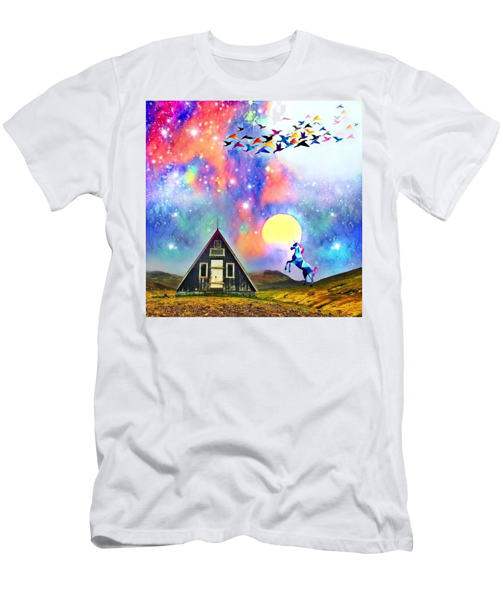 T-Shirt featuring the digital art Abode of the Artificial-Dreamer Zero by Sureyya Dipsar