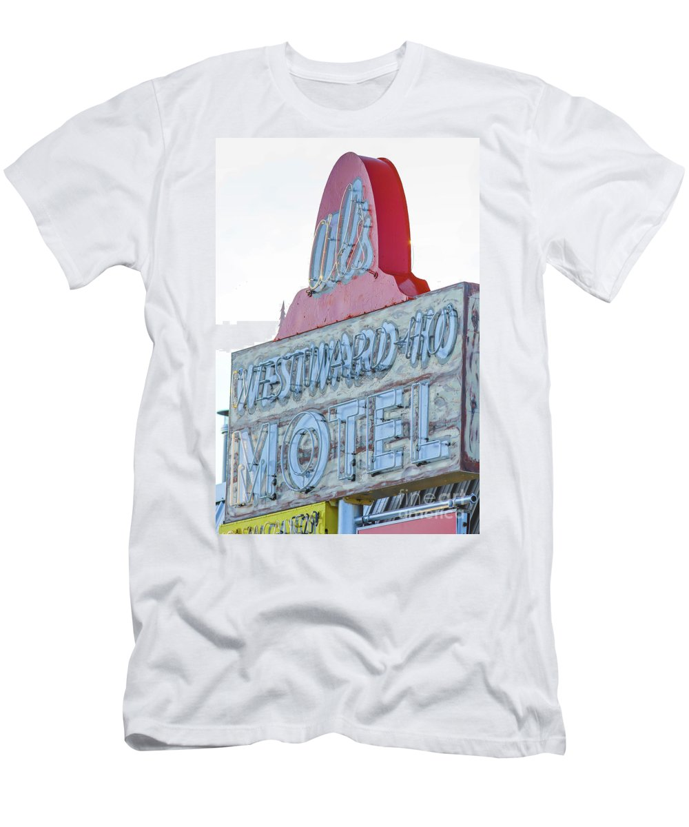 American Men's T-Shirt (Athletic Fit) featuring the photograph Als Westward Ho Motel Neon Sign West Yellowstone by Edward Fielding