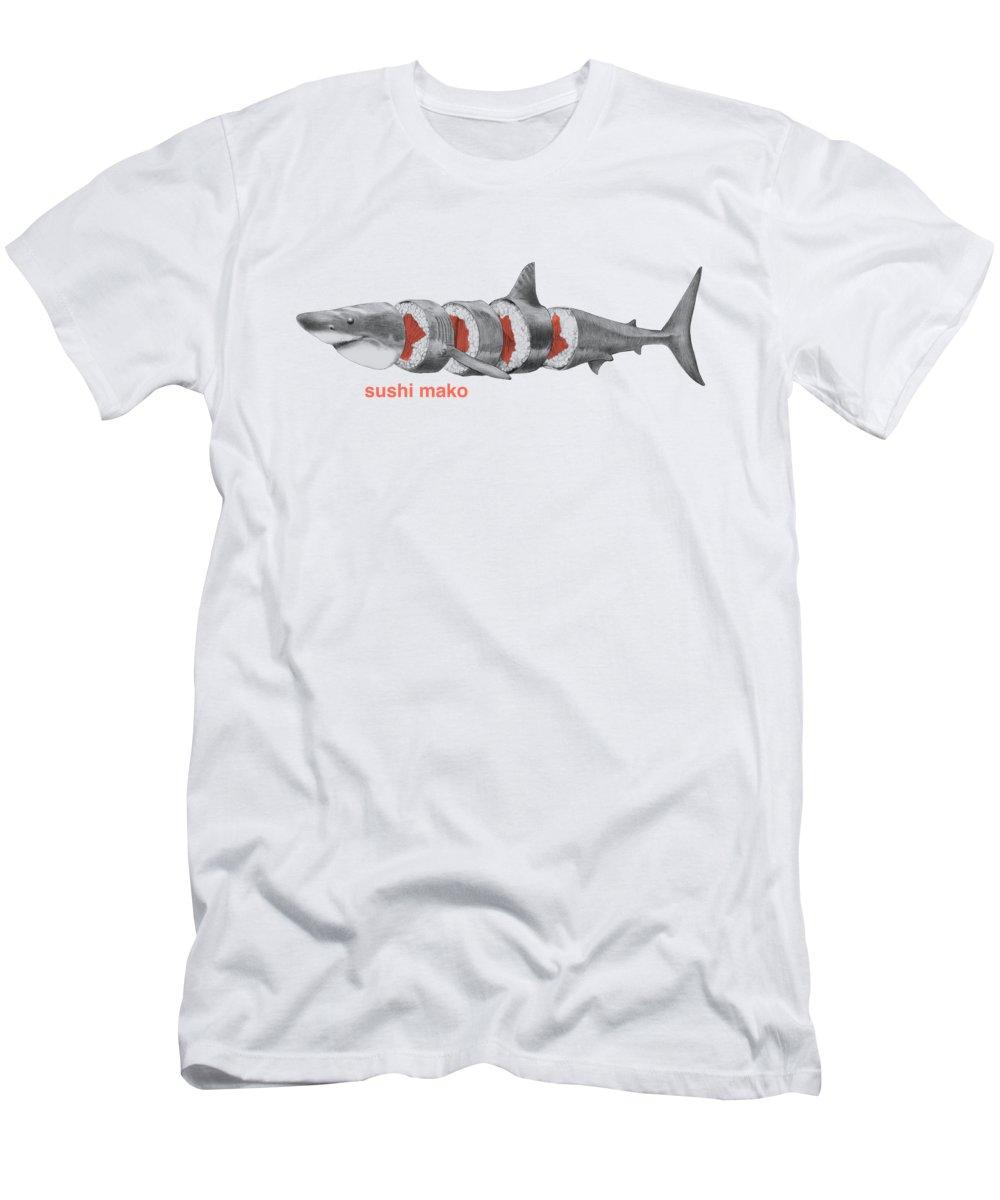 Sushi T-Shirt featuring the drawing Sushi Mako by Eric Fan