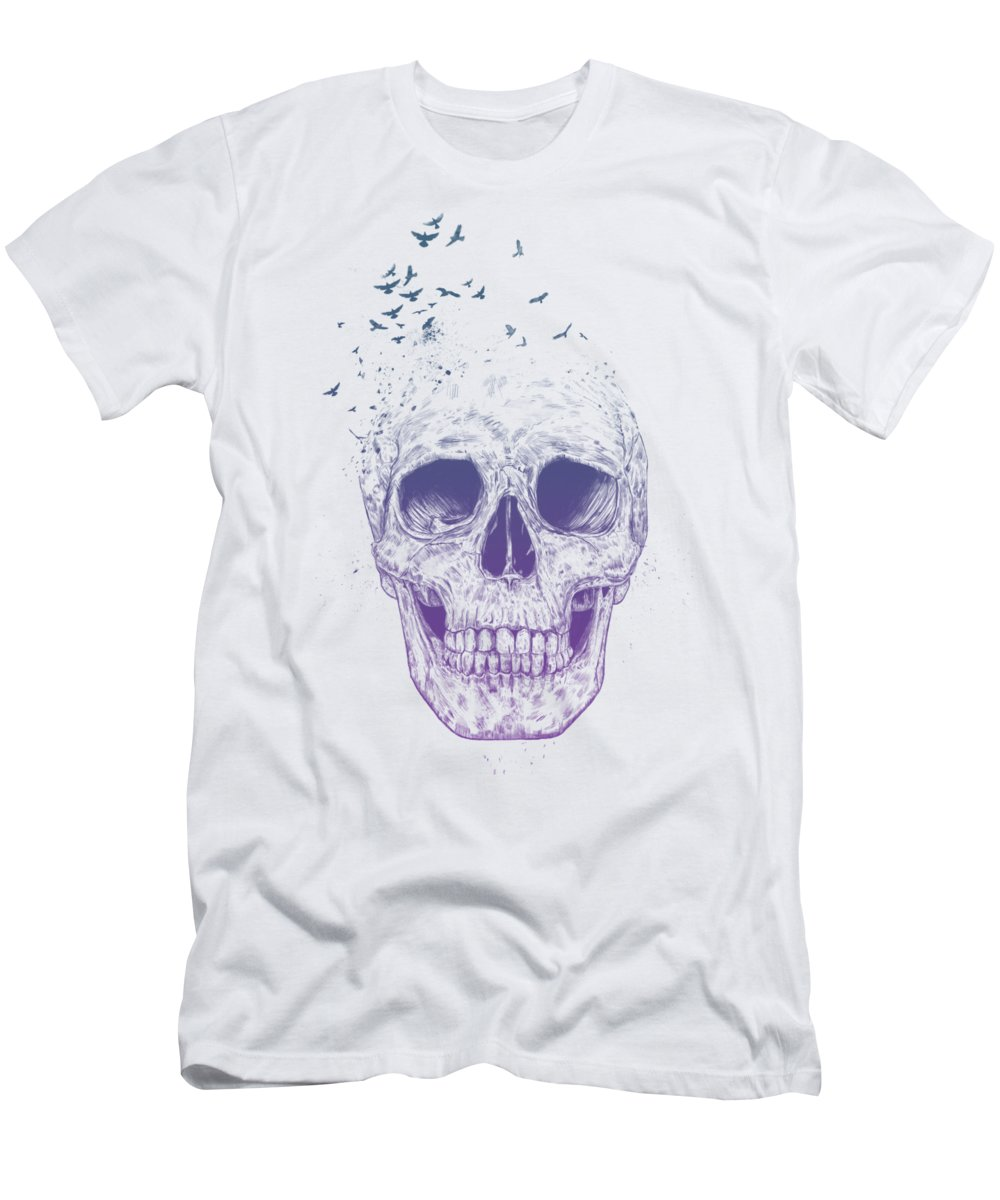 Skull T-Shirt featuring the mixed media Let them fly by Balazs Solti