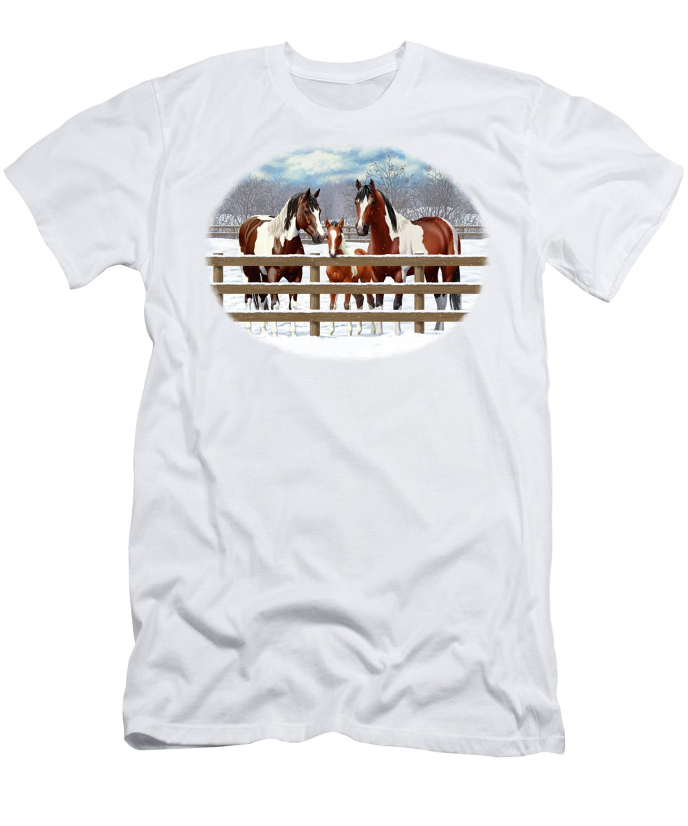 Horses Men's T-Shirt (Athletic Fit) featuring the painting Bay Paint Horses In Snow by Crista Forest