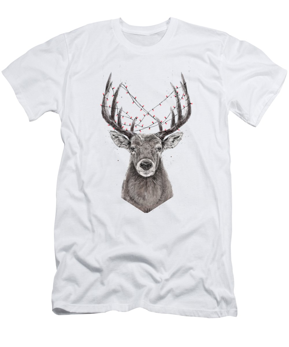 Deer T-Shirt featuring the drawing Xmas deer II by Balazs Solti