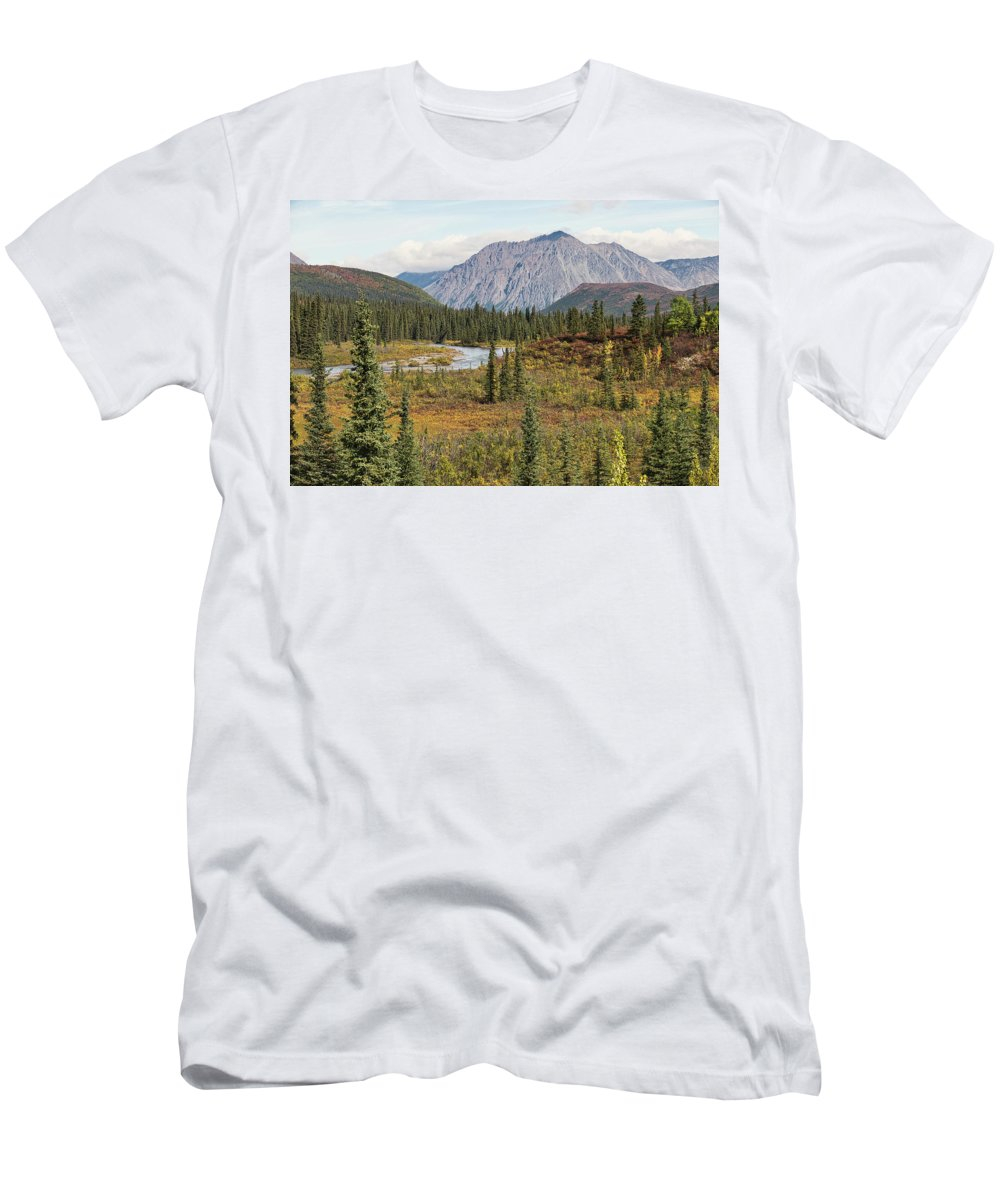 Mountain Men's T-Shirt (Athletic Fit) featuring the photograph Autumn In Denali by David Frankel