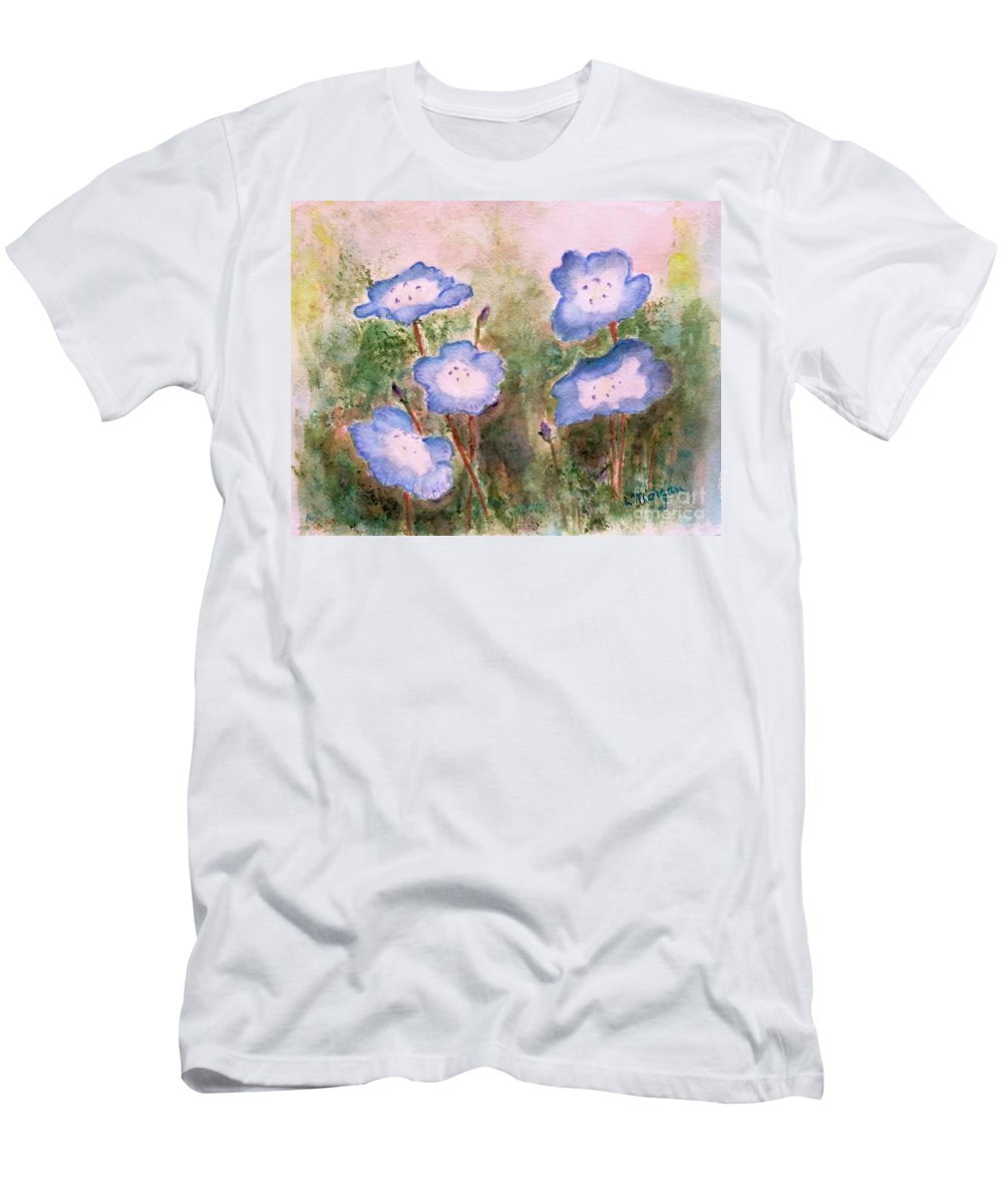 Flower T-Shirt featuring the painting Baby Blue Eyes by Laurie Morgan