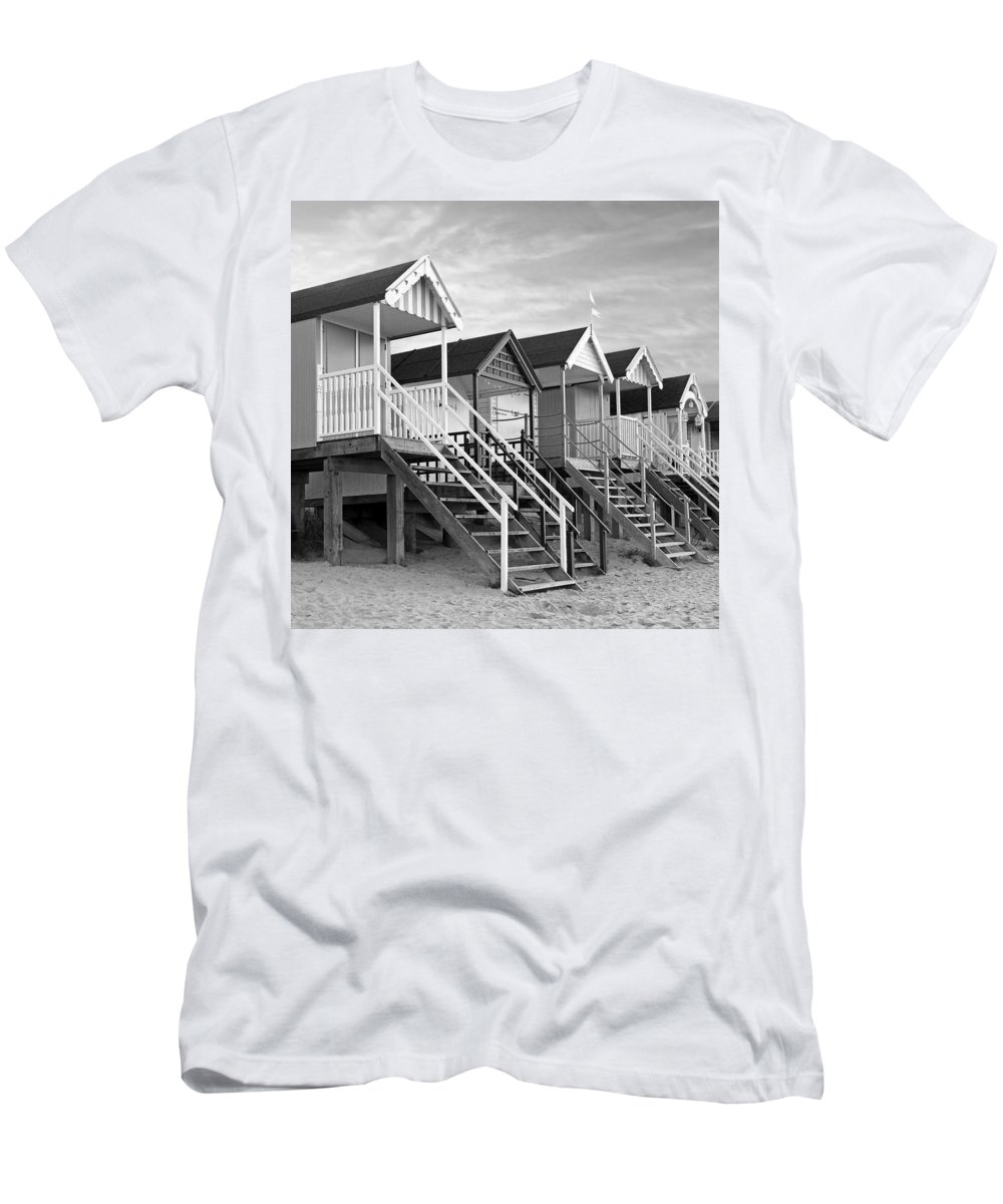Beach Huts Men's T-Shirt (Athletic Fit) featuring the photograph Beach Huts Sunset In Black And White Square by Gill Billington