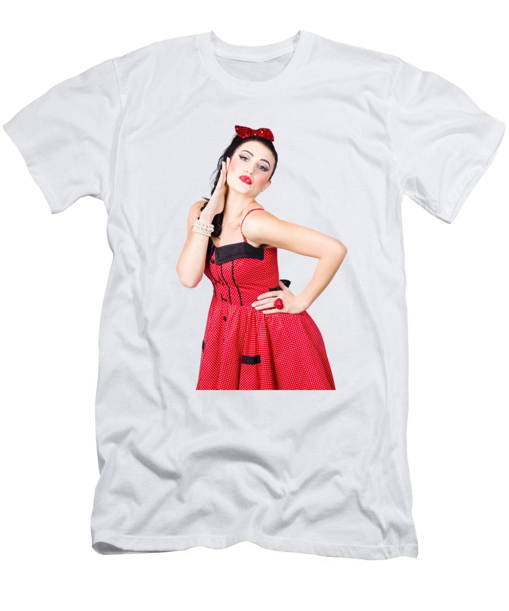 Makeup T-Shirt featuring the photograph Beautiful Young Pin-up Woman In Retro Fashion by Jorgo Photography - Wall Art Gallery