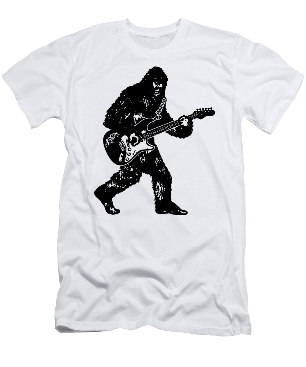 Guitar T-Shirt featuring the digital art Bigfoot Playing Guitar Electric Guitar Sasquatch Vintage Band Classic Rock Bass Guitar Drums Electr by Sam Beveridge