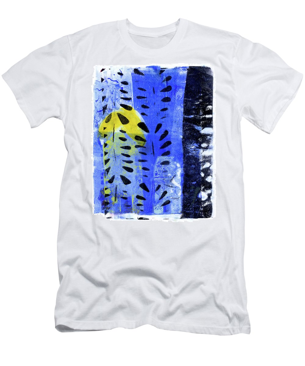 Contemporary Men's T-Shirt (Athletic Fit) featuring the painting Blue Garden 1 by Tonya Doughty