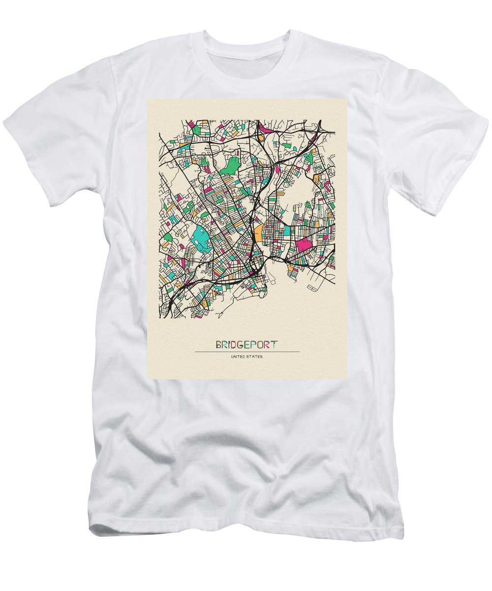 Bridgeport Men's T-Shirt (Athletic Fit) featuring the drawing Bridgeport, United States City Map by Inspirowl Design
