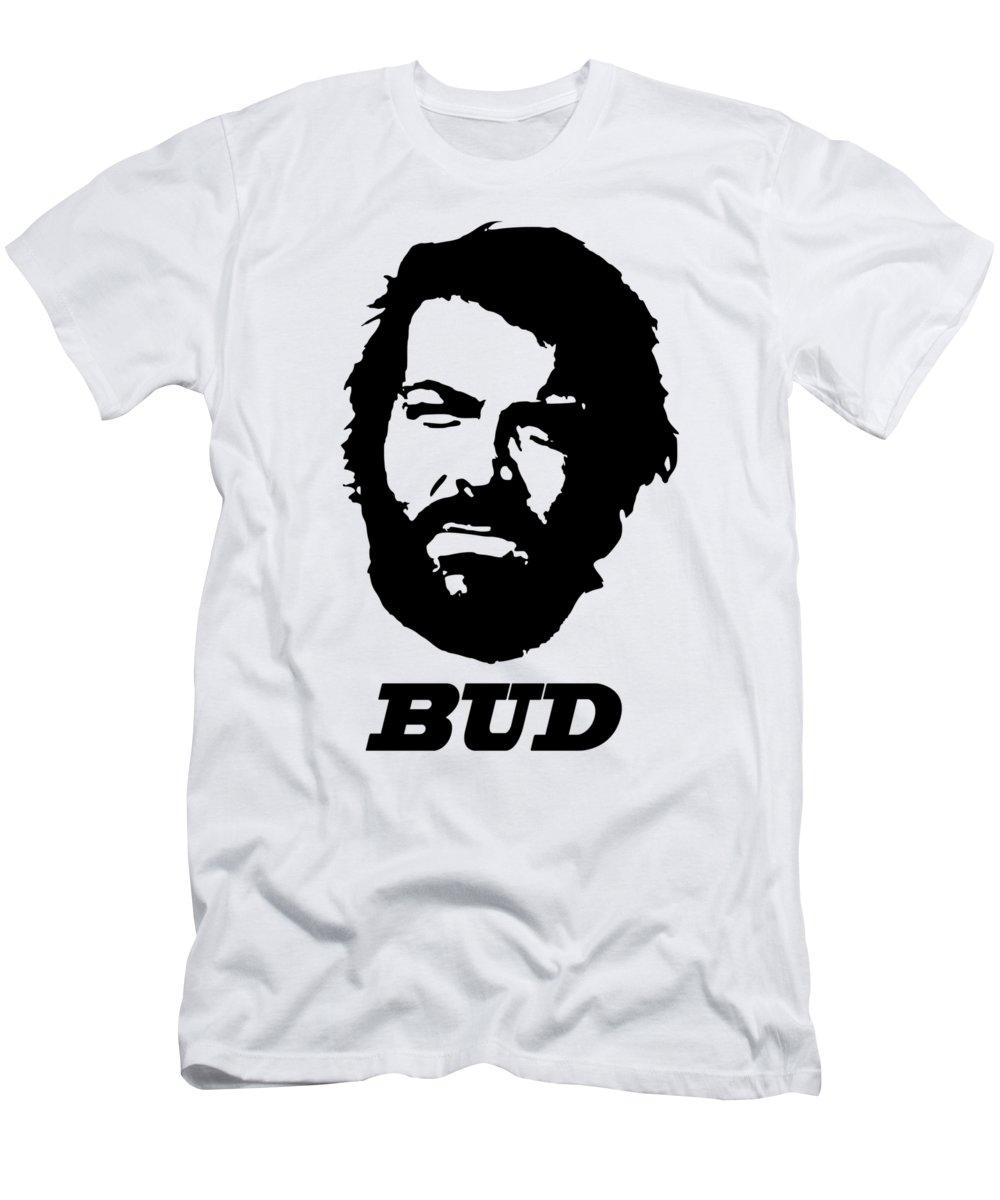 Bud Spencer T-Shirt featuring the digital art Bud Spcencer Minimalistic Pop Art by Filip Schpindel