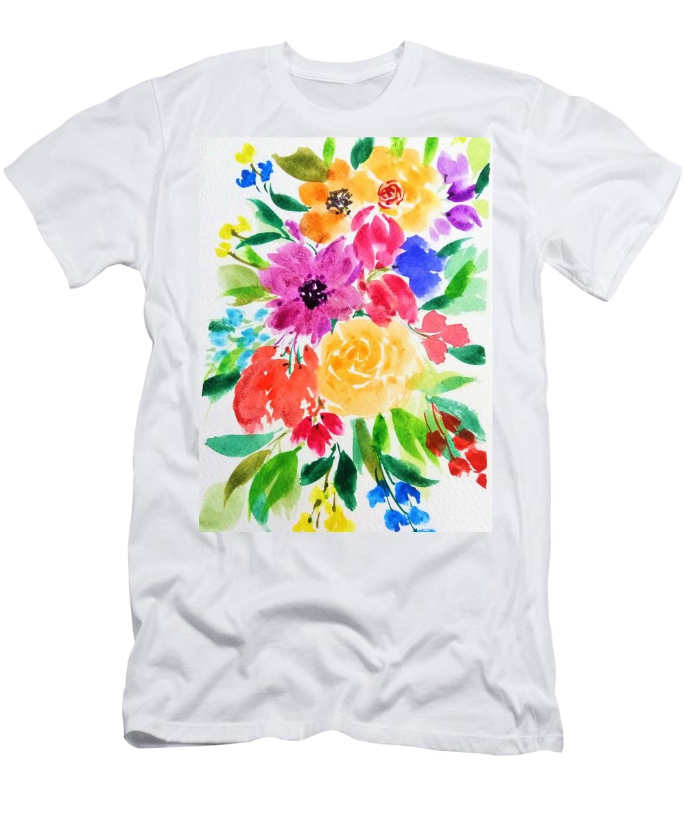 Watercolor Men's T-Shirt (Athletic Fit) featuring the painting Bunch Of Flowers by Shweta Saxena