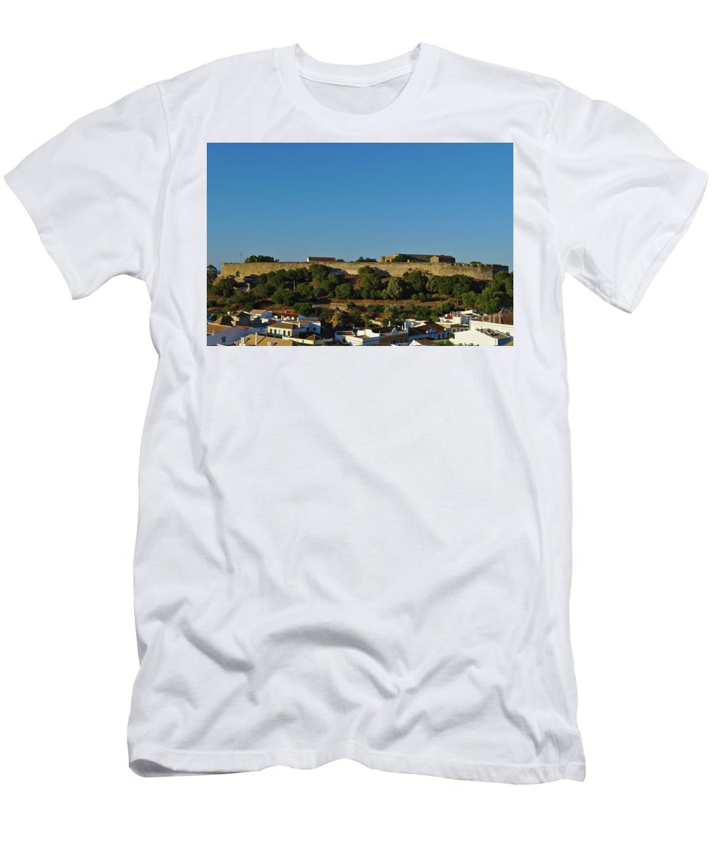 Cityscape Men's T-Shirt (Athletic Fit) featuring the photograph Castle Of Castro Marim From The Hill by Angelo DeVal