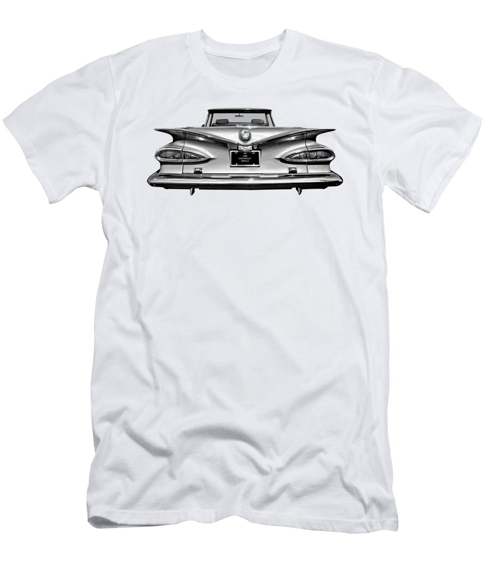 Chevrolet Impala T-Shirt featuring the photograph Chevrolet Impala 1959 in Black and White by Gill Billington