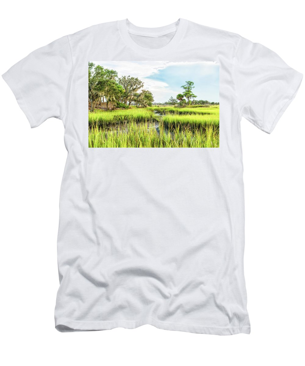 Marsh Men's T-Shirt (Athletic Fit) featuring the photograph Chisolm Island - Marsh At Low Tide by Scott Hansen