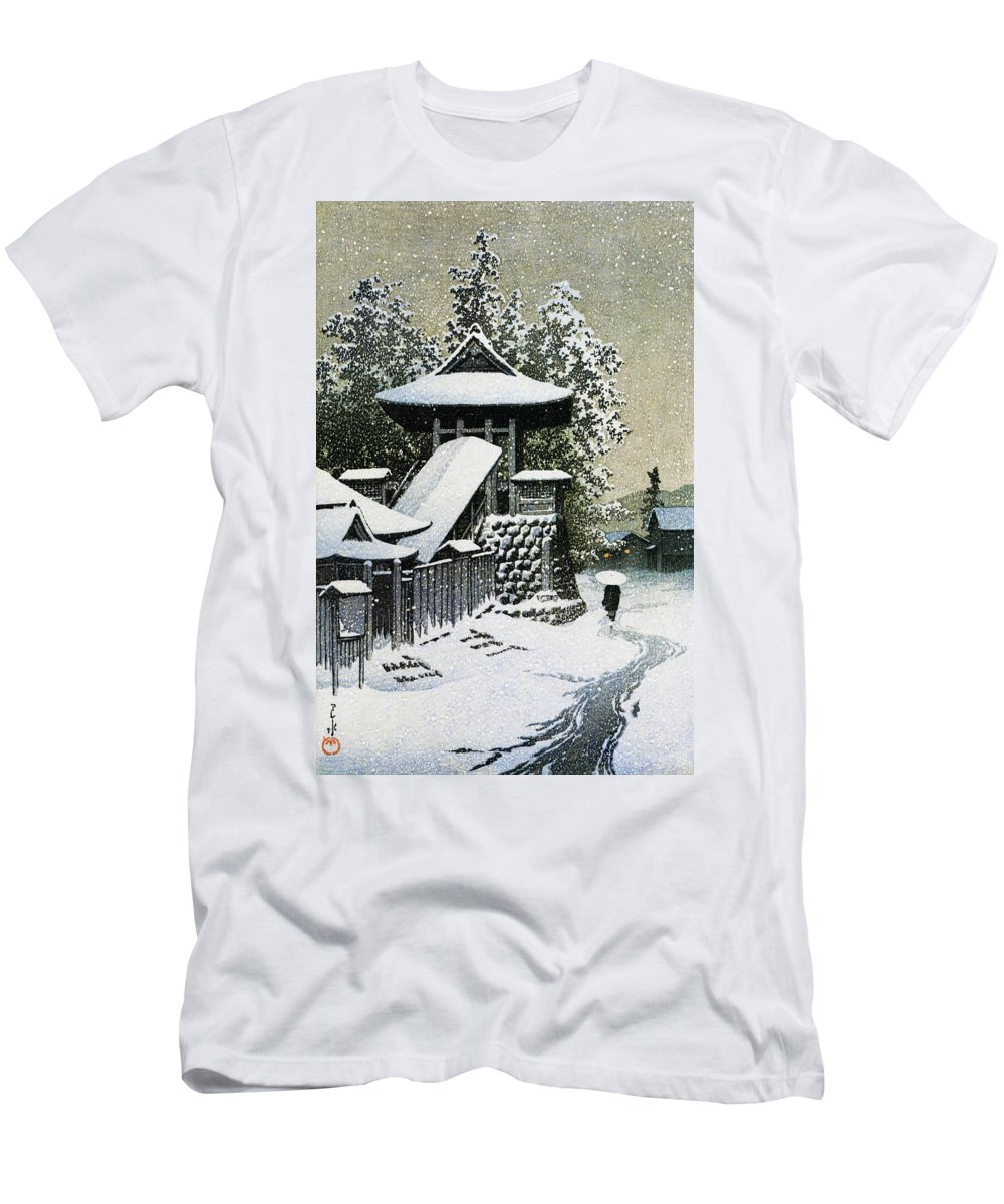 Kawase Hasui T-Shirt featuring the painting Collection Of Scenic Views Of Japan II, Western Japan Edition, Temple Bell Tower of Mt. Koyasan by Kawase Hasui