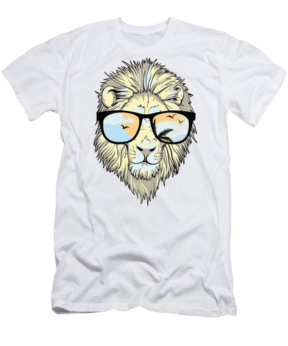 Beach T-Shirt featuring the digital art Cool Lion In Sunglasses by Passion Loft