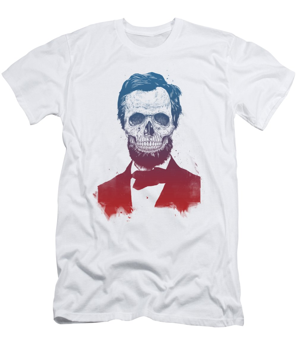Abe Lincoln Men's T-Shirt (Athletic Fit) featuring the drawing Dead Lincoln by Balazs Solti