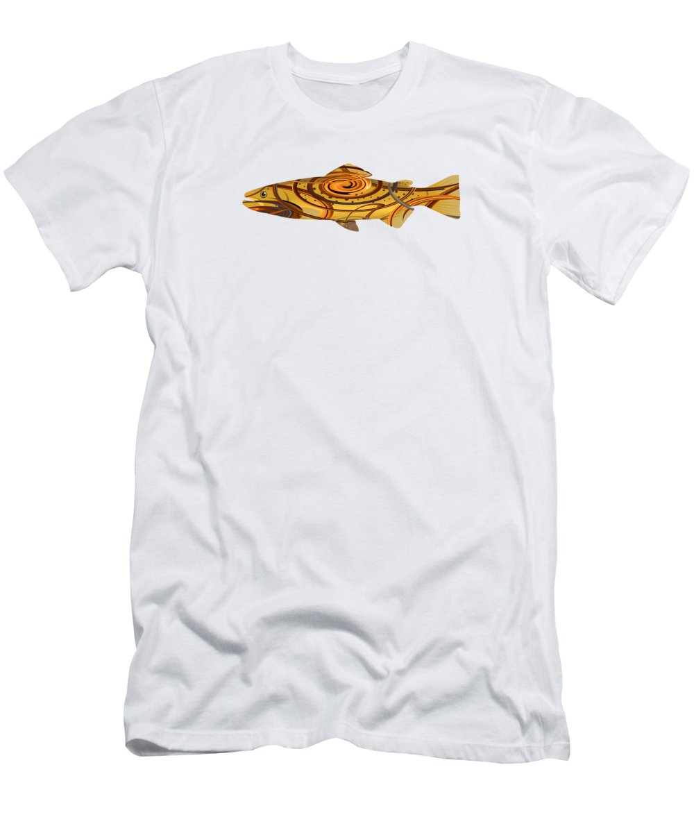 Trout T-Shirt featuring the digital art Mystic Trout- Dawn Treader by Whispering Peaks Photography