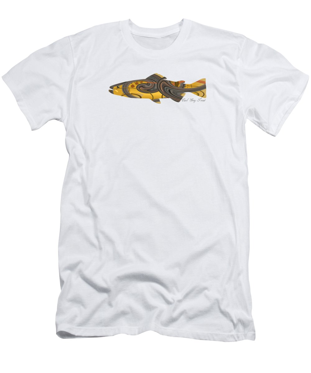 Earl Gray T-Shirt featuring the digital art Mystic Trout- Earl Gray Trout 2 by Whispering Peaks Photography