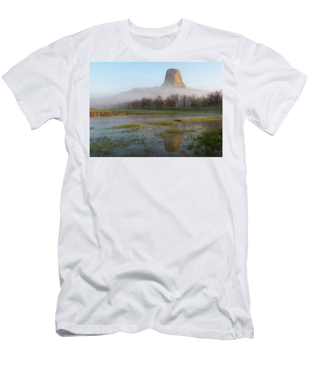 Cleveland Men's T-Shirt (Athletic Fit) featuring the photograph Devil's Tower National Monument by Matt Shiffler