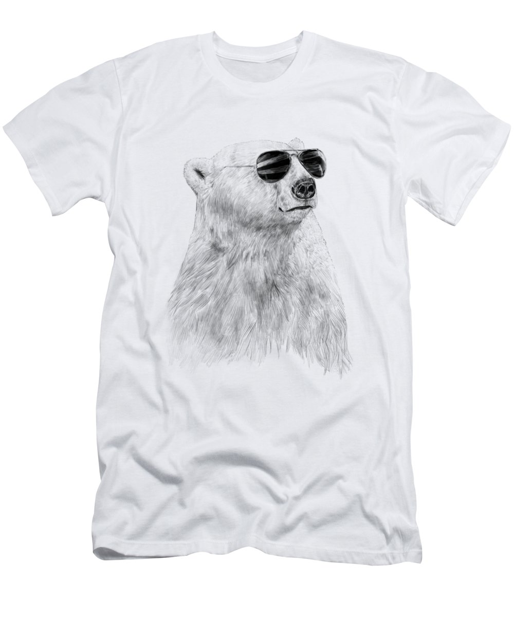 Polar Bear T-Shirt featuring the drawing Don't let the sun go down by Balazs Solti