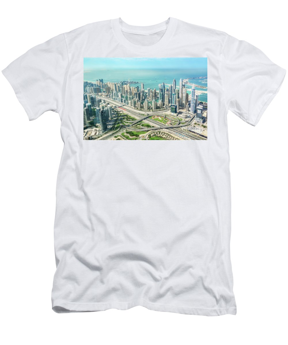 Dubai Men's T-Shirt (Athletic Fit) featuring the photograph Dubai From Above by Delphimages Photo Creations