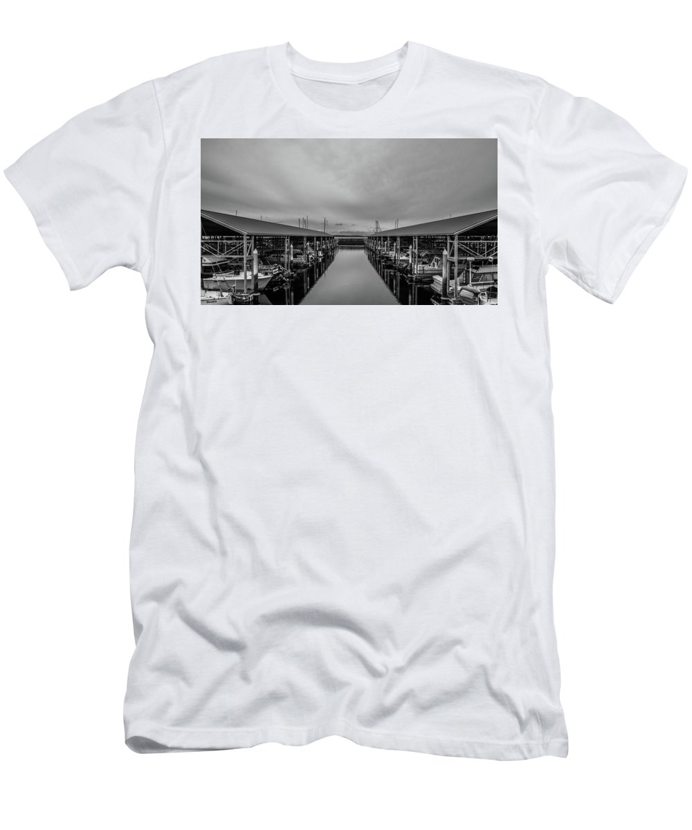 Edmonds Men's T-Shirt (Athletic Fit) featuring the photograph Edmonds Marina by Joel Buhs