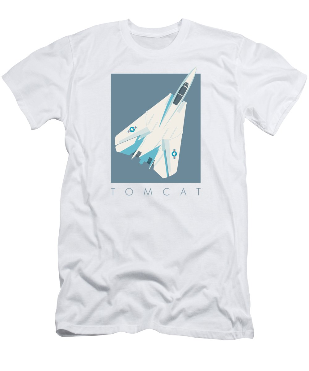 Jet Men's T-Shirt (Athletic Fit) featuring the digital art F14 Tomcat Fighter Jet Aircraft - Slate by Ivan Krpan