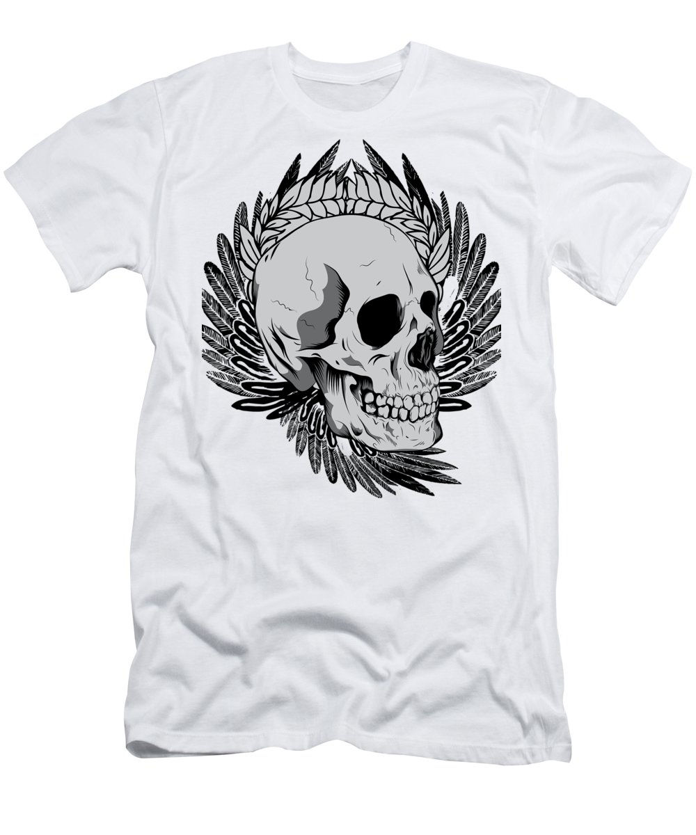 Halloween T-Shirt featuring the digital art Feathered Skull by Passion Loft