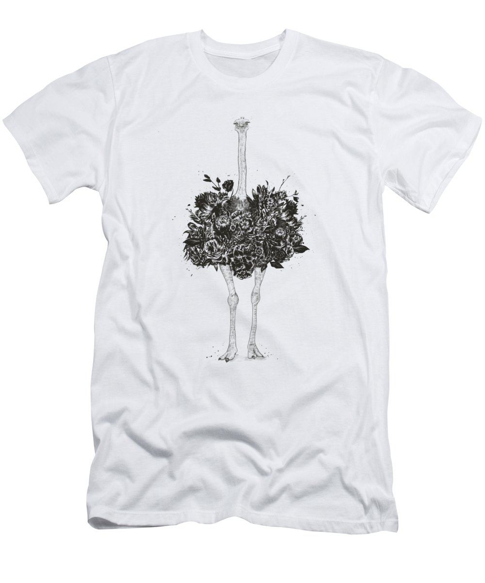 Ostrich T-Shirt featuring the drawing Floral ostrich by Balazs Solti