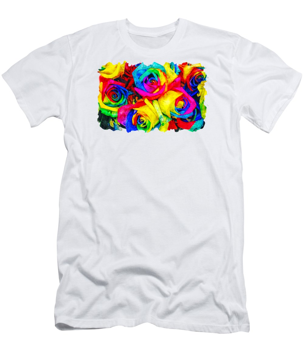 Art Men's T-Shirt (Athletic Fit) featuring the drawing Flower Watercolor Drawing - Rainbow Flower by Hasan Ahmed
