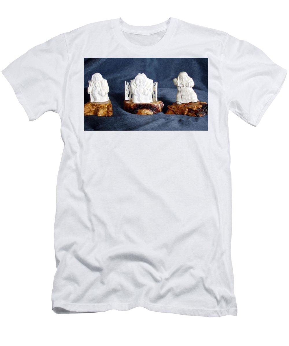 Handmade T-Shirt featuring the sculpture Folk Music. Ethnic Song. Musician Sculpture by Pop Art