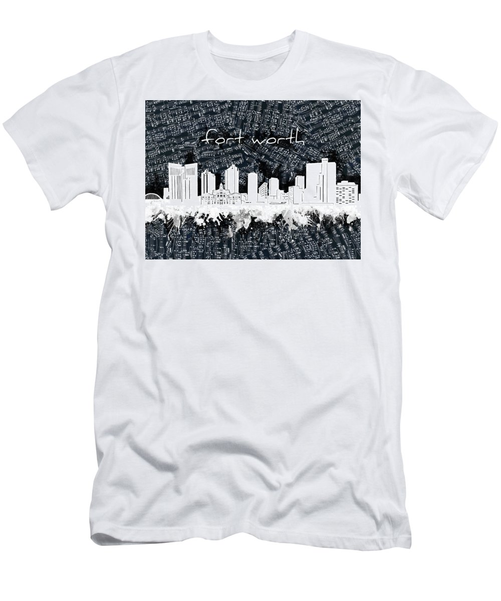 Fort Worth Men's T-Shirt (Athletic Fit) featuring the digital art Fort Worth Skyline Music Sheet 2 by Bekim Art