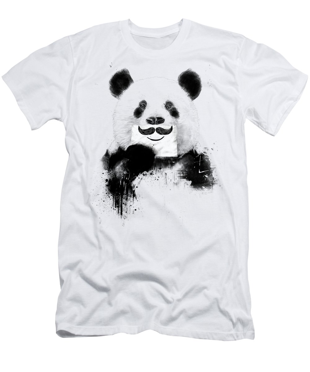 Panda T-Shirt featuring the mixed media Funny panda by Balazs Solti