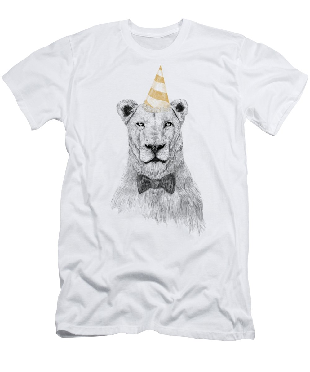 Lion T-Shirt featuring the drawing Get the party started by Balazs Solti