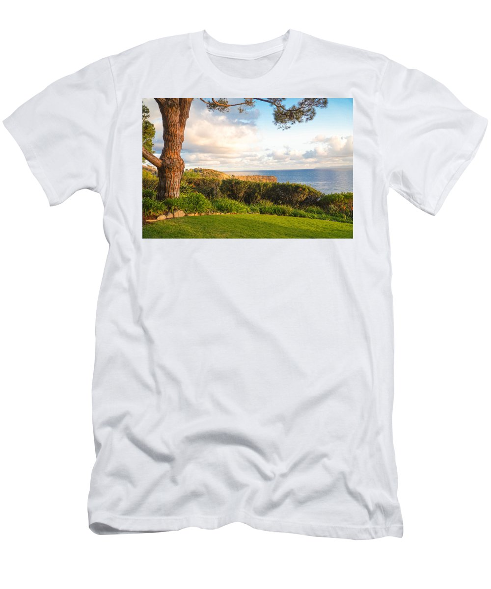 Pacific Ocean Relaxing Relax View California Sun Clouds Green Grass Tree Men's T-Shirt (Athletic Fit) featuring the photograph Green Grass by Hilario Ruiz