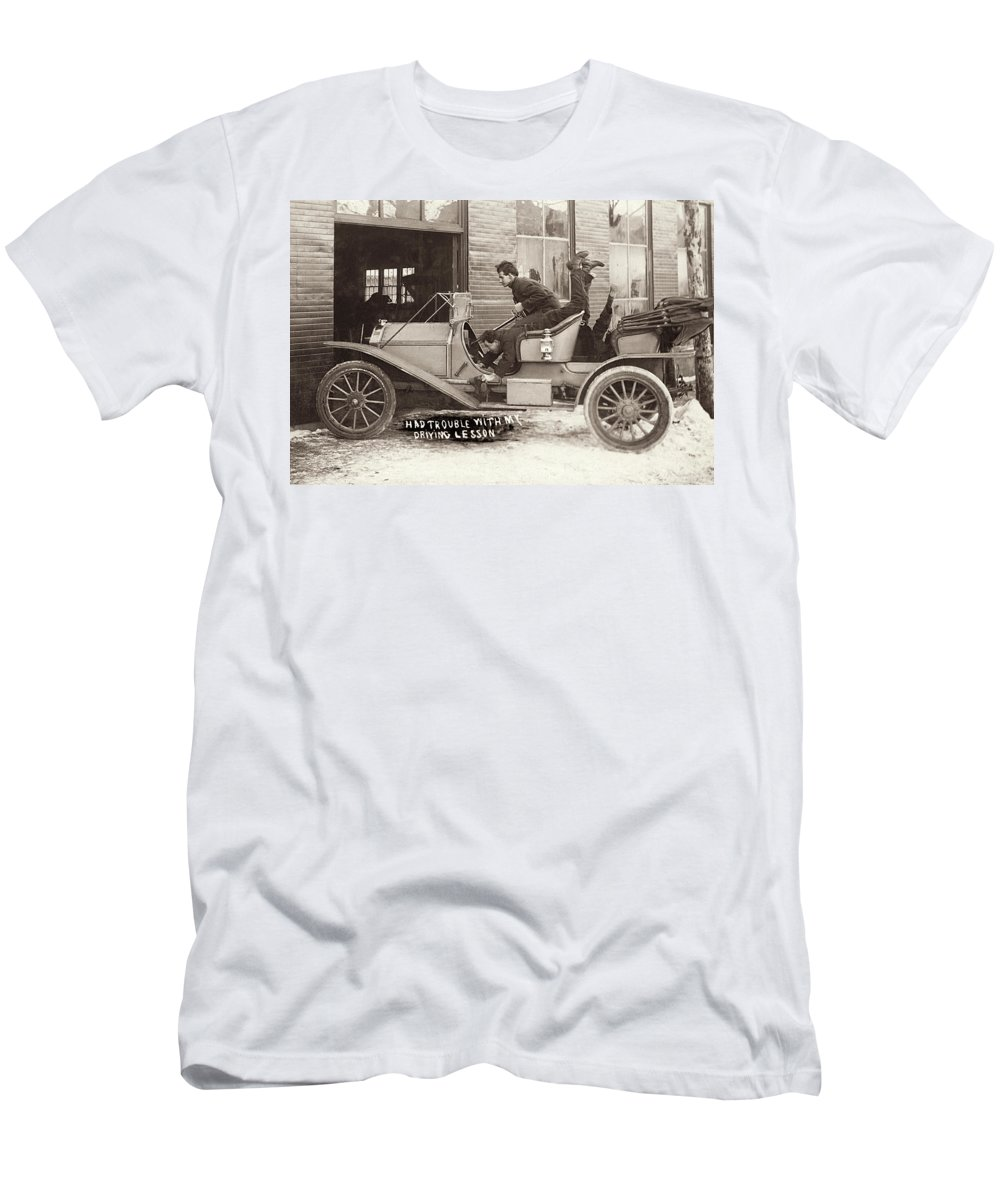 Vintage Automotive Men's T-Shirt (Athletic Fit) featuring the photograph Had Trouble With My Driving Lesson by Jayson Tuntland