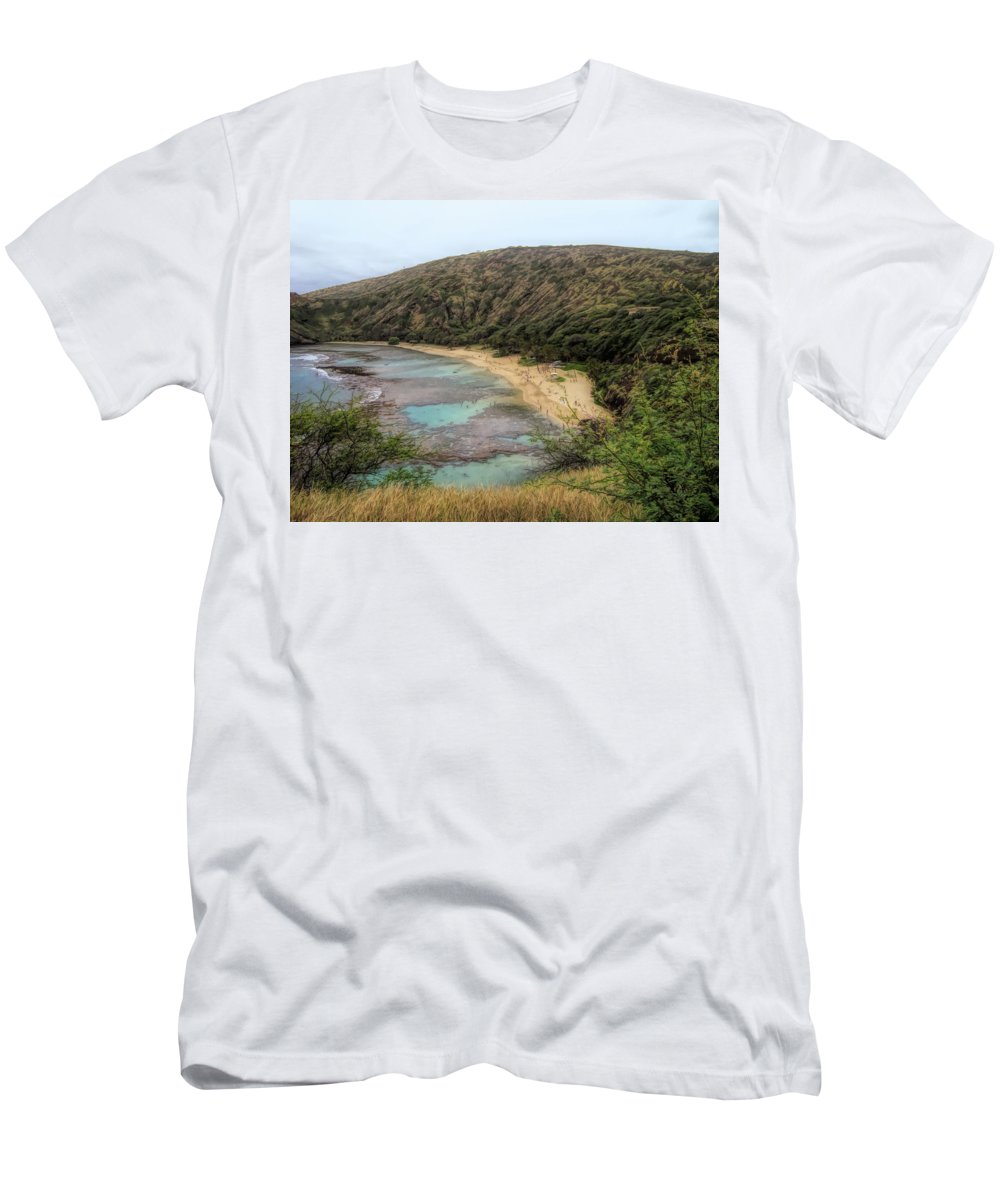 #hawaii Men's T-Shirt (Athletic Fit) featuring the photograph Hanauma Bay Beach Park by Cornelia DeDona