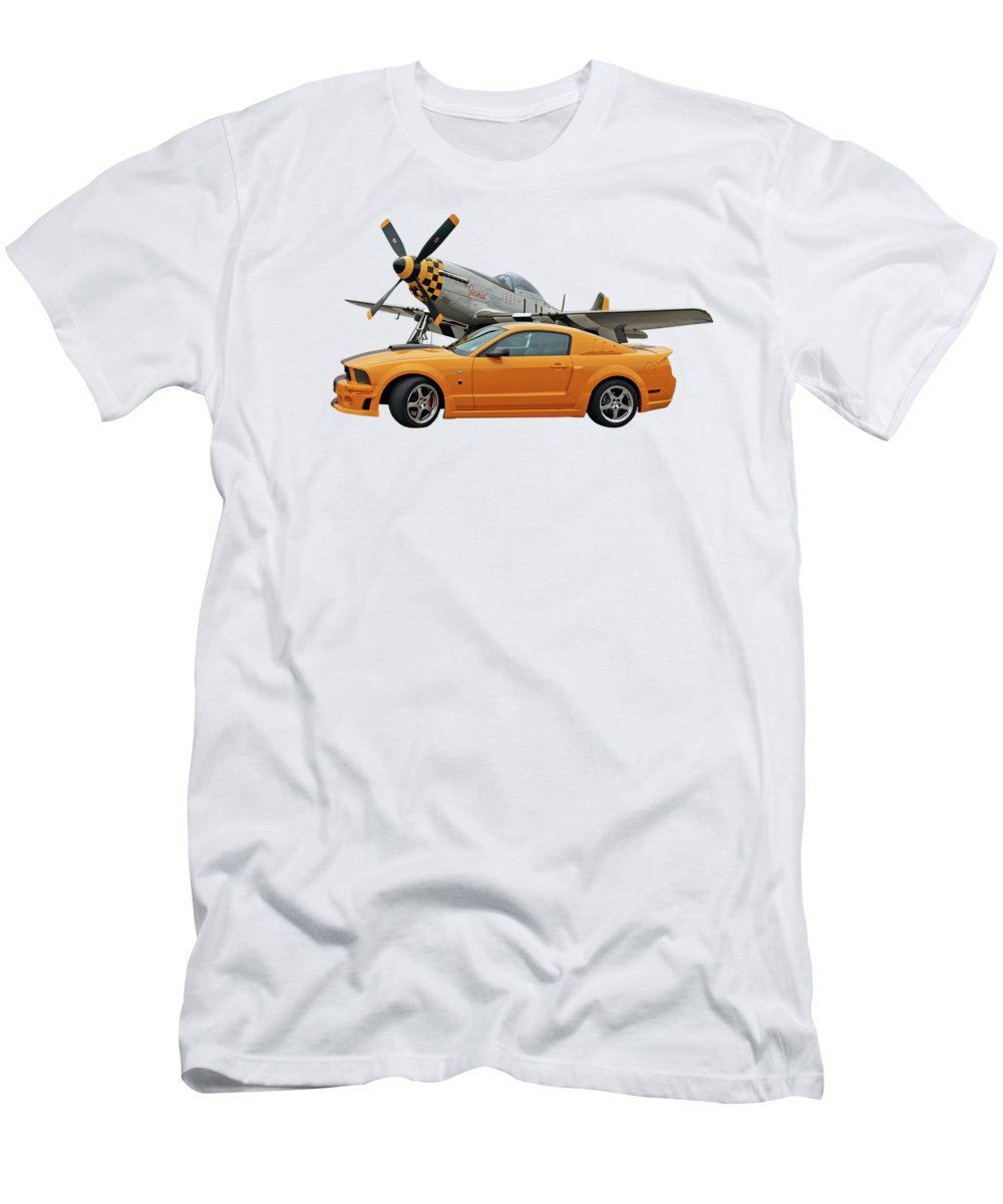 Ford Mustang T-Shirt featuring the photograph High Flyers - Mustang And P51 by Gill Billington