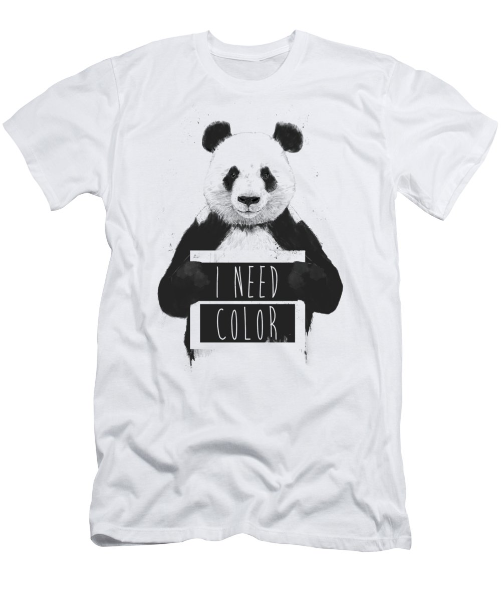 Panda T-Shirt featuring the mixed media I need color by Balazs Solti